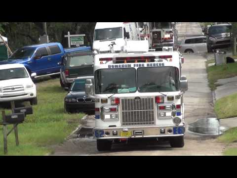 DUNEDIN FIRE RESCUE  ENGINE 62 NICE WHITE TRUCK WITH RED AND BLUE STRIPES
