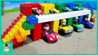 Cars toy videos for Children. Building bridge with truck, excavator. Songs for Kids | MariAndToys