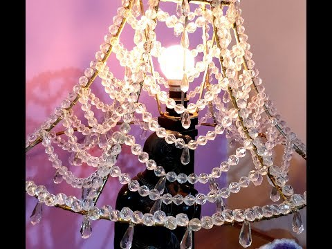 Diy How to make A Chandelier Lampshade with beads