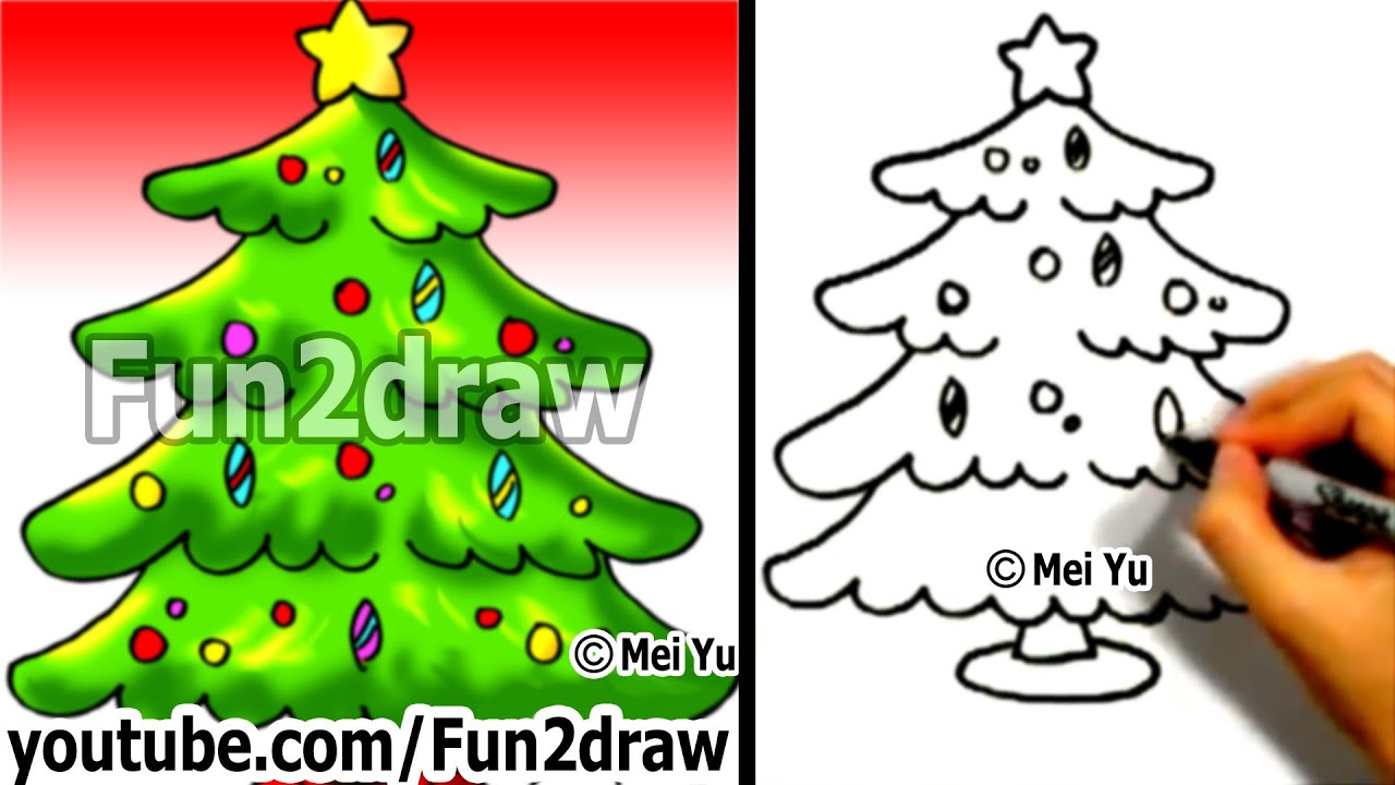 How to Draw a Christmas tree in 1 min - How to Draw Easy Drawings ...