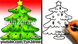 How To Draw A Christmas Tree In 1 Min - How To Draw Easy Drawings - Fun2draw