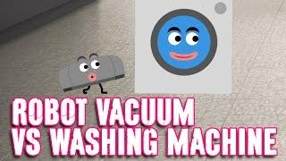 vacuum cleaner cartoon robot vacuum cleaner vs washing machine   cartoon animation