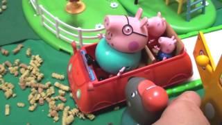 Мультфильм игрушками Свинка Пиги Pig Ремонт  размытой дороги