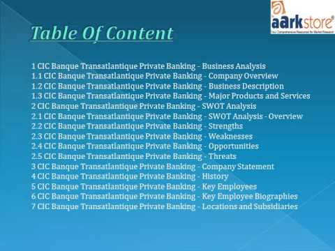 Aarkstore -CIC Banque Transatlantique Private Banking : Company Profile and SWOT Analysis