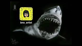 Draw a realistic 3D shark using white charcoal / رسم سمكة قرش ثلاثية الأبعاد باستخدام الفحم الأبيض