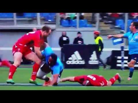 Six Nations Wales Rugby Leigh Halfpenny Knocked Out Italy 21st March 2015 lee half penny