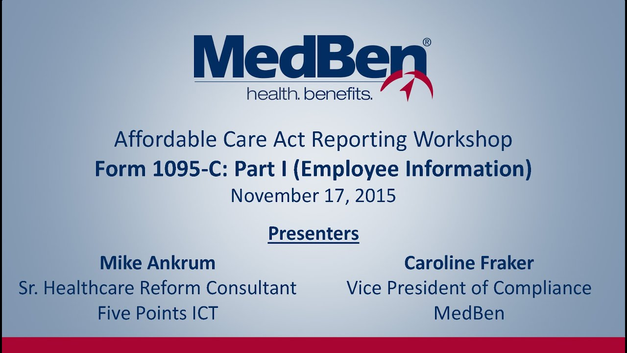 ACA Reporting Workshop – IRS Form 1095-C Part I - YouTube