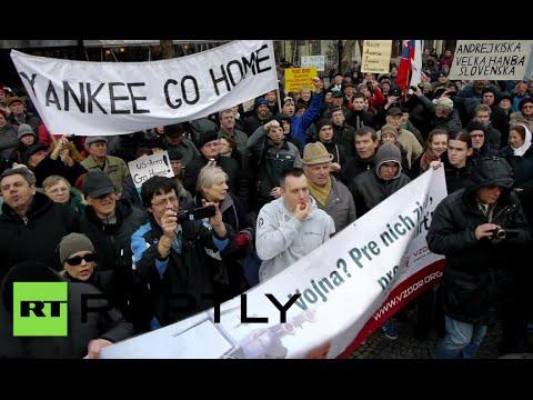 No to NATO! Slovakians rally at US embassy in Bratislava