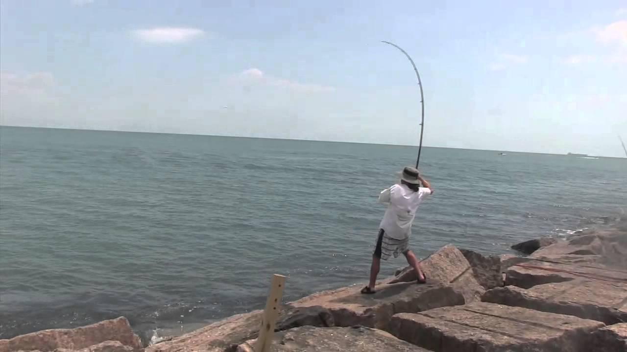Surf pole peeling line a big something doovi for Texas coast fishing