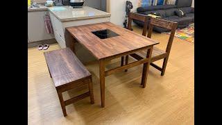 4인용 원목식탁 만들기 (Wooden Dininy Ta…