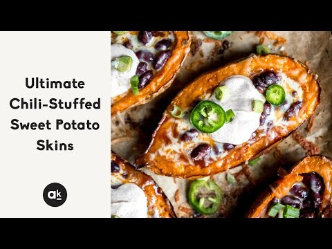 Ultimate Chili-Stuffed Sweet Potato Skins