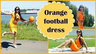 Crossdresser - football in an orange dress and white peeptoe pumps | NatCrys