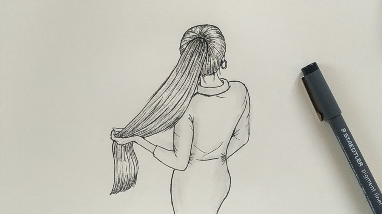 How To Draw Easy Girl With Beautiful Hair Step By Step Youtube