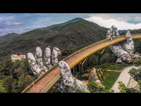 Golden Bridge Suspended By Hands & Sunworld Bana Hills In Vietnam