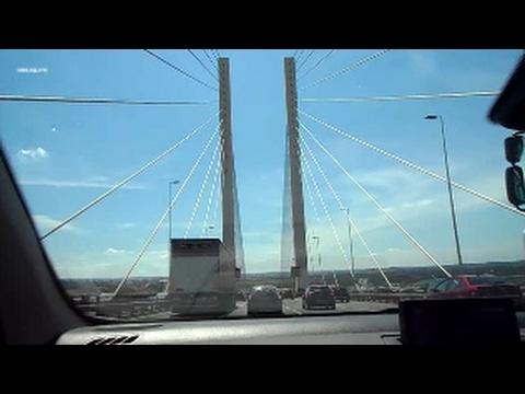 Driving over Dartford Bridge and thru Dartford Tunnel