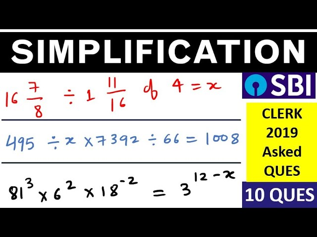 Previous Year Simplification Question Asked in SBI CLERK PRELIMS 2019