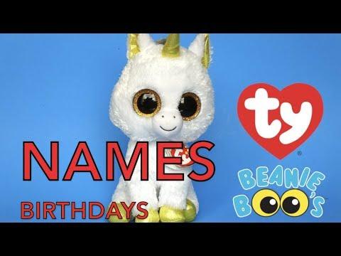 BEANIE BOOS NAMES AND BIRTHDAYS