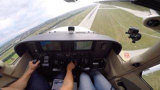 Erster Flug mit Familie und Low Approach Flughafen Stuttgart, EDDS (C172SP G1000)