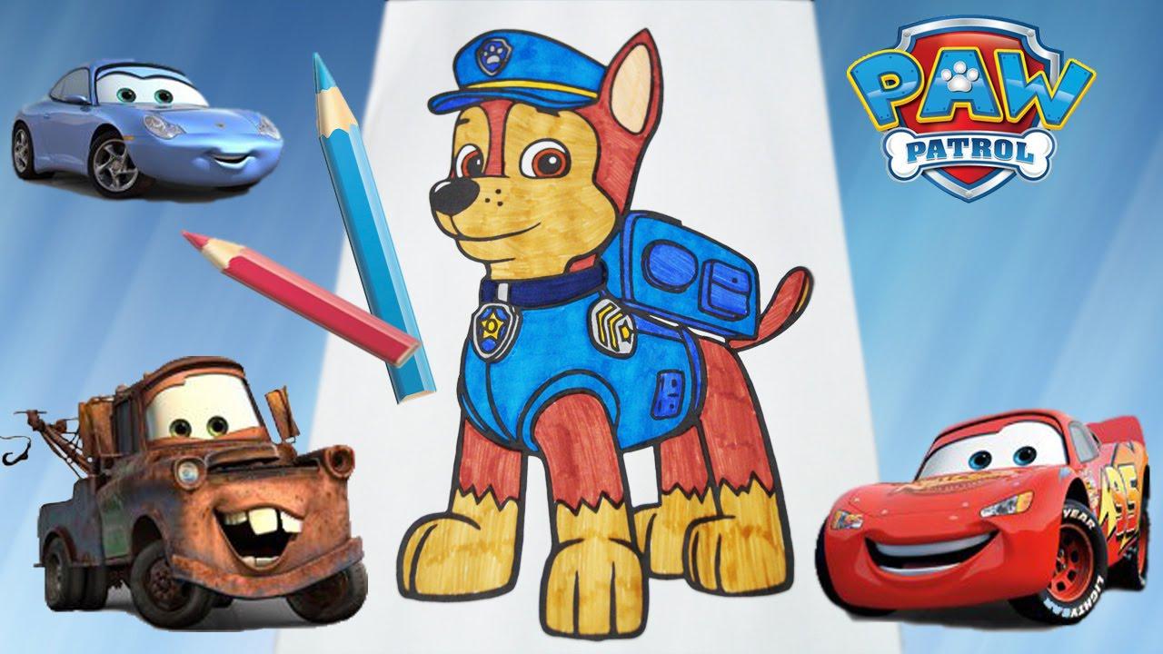 Paw Patrol щенячий патруль гонщик мультик раскраска видео для детей