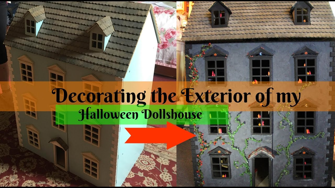 Decorating the Exterior of my Halloween Gothic Dollhouse - DIY Dolls House  (Part 5)