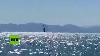 Así cayó al mar un helicóptero de la Marina mexicana en el golfo de California