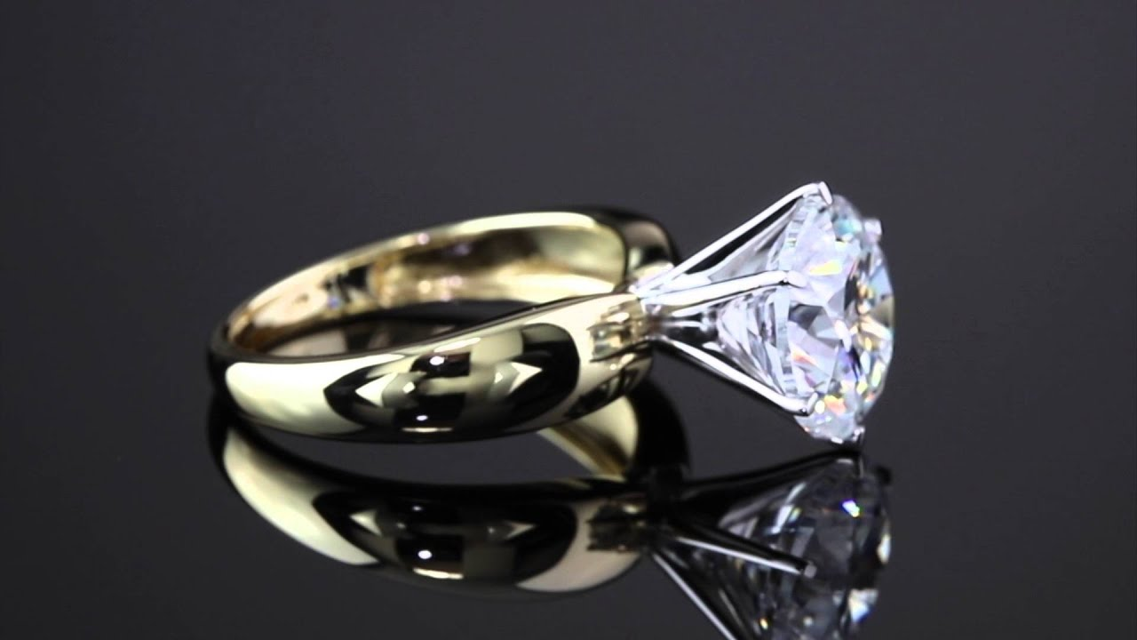 3 50 TCW Round Cubic Zirconia 10k Yellow Gold Solitaire Bridal