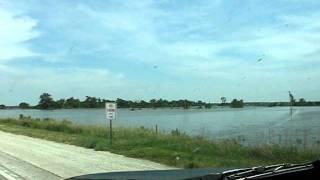 Missouri River Flood from Blair, NE Bridge to DeSoto Bend Levee