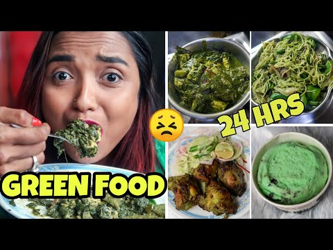 I Ate GREEN FOOD FOR 24 HOURS CHALLENGE !! FULL DAY EATING Vlog - GREEN FOOD ONLY | INDIA