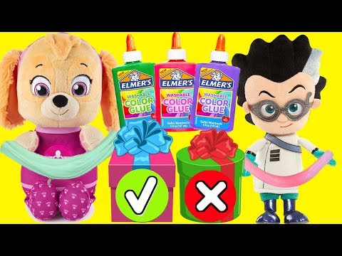 Mystery Box Slime Challenge With Paw Patrol Skye And PJ Masks Romeo
