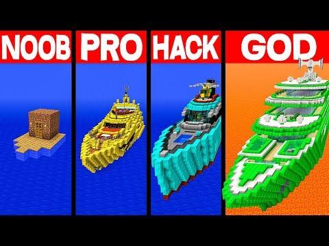 Minecraft NOOB Vs PRO Vs HACKER Vs GOD: MODERN YACHT CRUISE In Minecraft - Animation