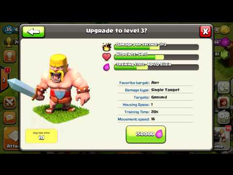 Clash Of Clans Upgrading Level 2 Barbarian!