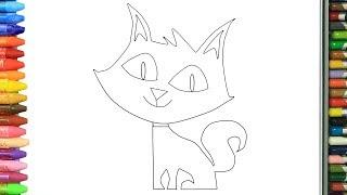 Как нарисовать кошка | Раскраски детей HD | Рисование и окраска