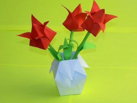 0 - Як зробити вазу з паперу своїми руками — орігамі, просту?