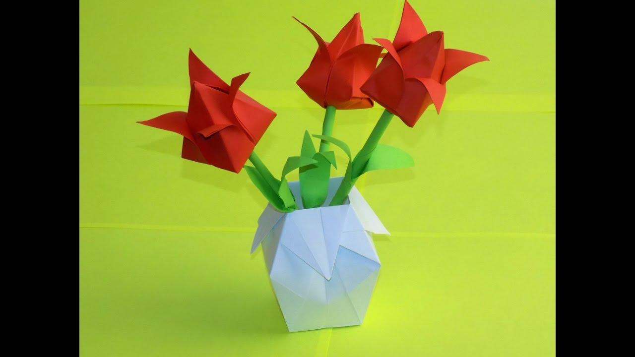 142Как сделать вазу с цветами из бумаги своими руками