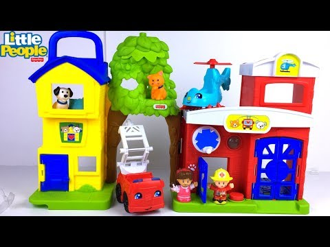 FISHER PRICE LITTLE PEOPLE ANIMAL RESCUE SET WITH FIRE STATION HELICOPTER & FIRE TRUCK - UNBOXING