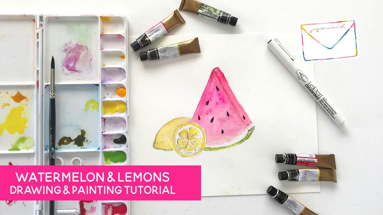 Watermelon & Lemon Watercolor Painting Tutorial