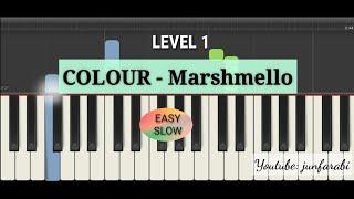 marshmello colour piano easy level 1 - piano slow