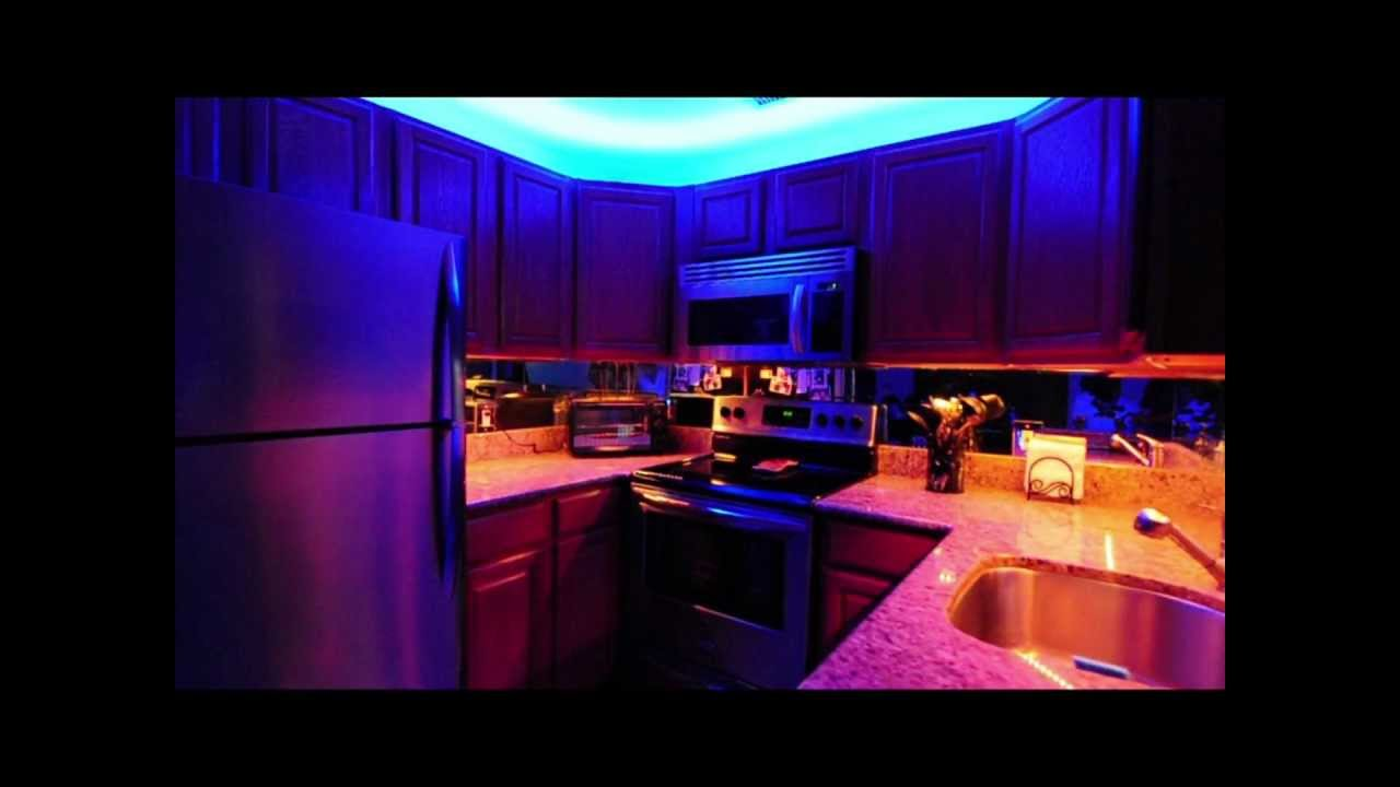 Above and under kitchen cabinet led lighting youtube for Kitchen led lighting