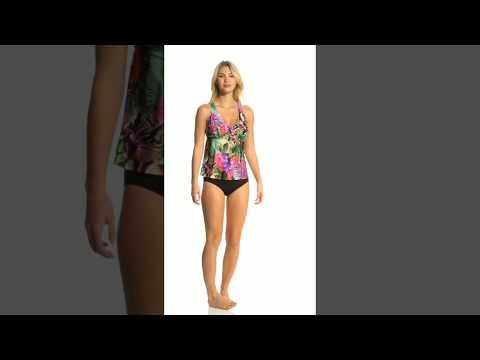 Jantzen Floral Tropical H-Back Tankini Top (D/DD Cup) | SwimOutlet.com
