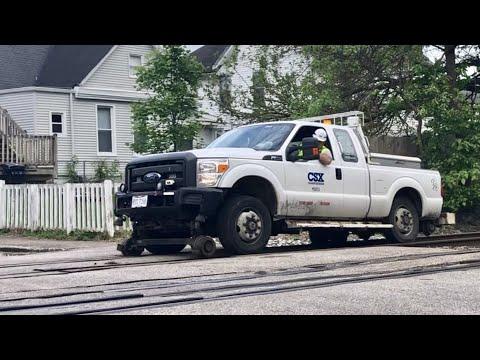 High Rail Truck Runs Over Penny!  Fast Auto Racks Train, Sidney Ohio Train Station