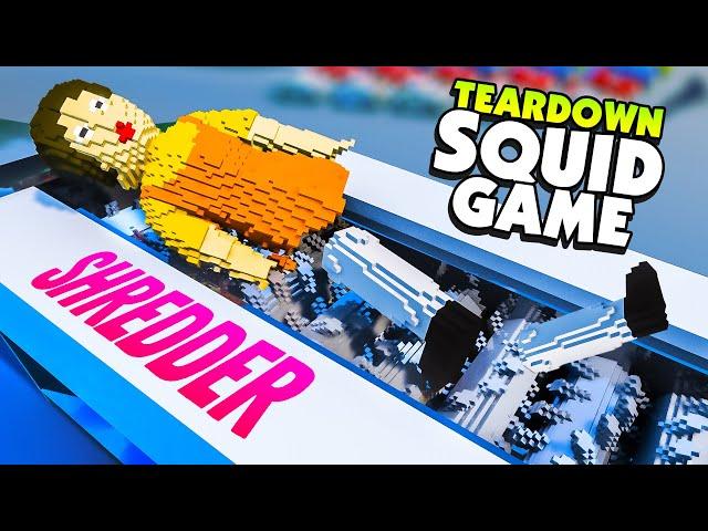 Crushing SQUID GAME DOLL In GIANT SHREDDER - Teardown Mods