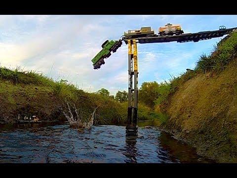 Lego train crash at a REAL waterfall ...