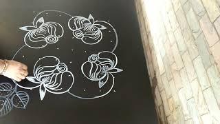 Simple And easy rose kolam...latest flower rangoli...7 to 7 dots