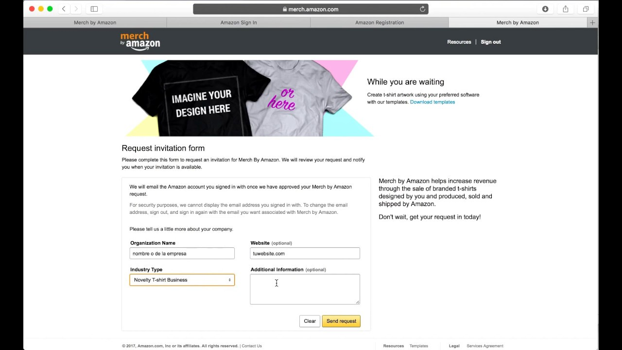 Merch By Amazon - Como solicitar tu invitación - YouTube 5b6bc080fcf19