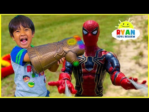 Marvel Avengers Superhero Toys Helps Ryan take back the Gauntlet from Thanos!!!!