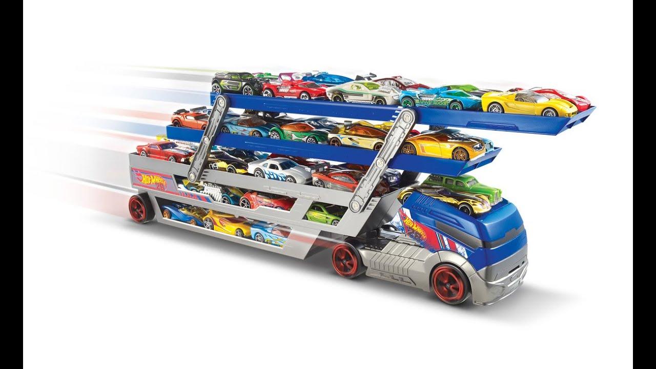 10 coches Hotwheels ^^^ Hot Wheels Stunt /& Go Hauler Camión Transportador Rig Camión