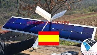 Avion solar RC vuelo sin baterias con celulas solares Solar DR1. Dron solar video