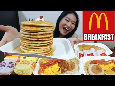 MCDONALD'S BREAKFAST FEAST!! Big Breakfast, Hotcakes, Sausag