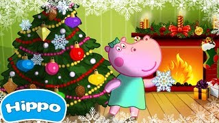 Hippo 🌼 Santa's workshop 🌼 Christmas Eve 🌼 Cartoon game for kids
