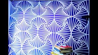 mengecat dinding;  motif kotak menjadi gambar flora